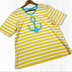Quacker Factory Yellow Striped Anchor Tee Large